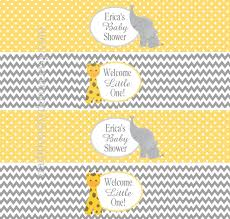 baby shower water bottle labels personalized yellow gray