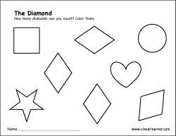 free diamond shape activity sheets for preschool children