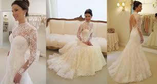gorgeous long sleeve lace 2017 wedding dress high neck open back