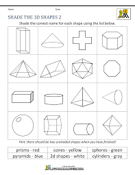 worksheet shapes range 3d shapes worksheets 2nd grade