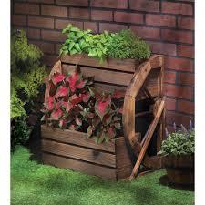 amazon com fir wood wagon wheel double tier planter plant stand