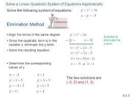 solving quadratic systems of equations algebraically