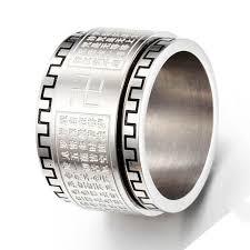 mens wedding bands titanium big mens buddhist scriptures ring titanium steel gold silver