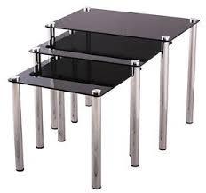 Black Glass Tables Glass Nest Of Tables Ebay