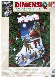 dimensions counted cross stitch christmas stocking santas arrival