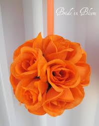 orange ball wedding pomander flower kissing ball