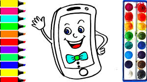 cute iphone coloring page learn mobile phone colors for girls