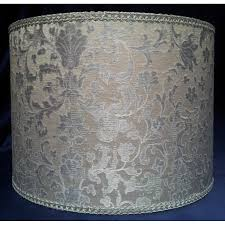 drum lamp shade white and silver silk jacquard rubelli fabric les