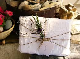 unique gift wrap flour sack towel twine flowers package