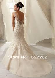 Ivory Wedding Dresses High Quality Mermaid Scoop Chapel Train Ivory Organza Crystal