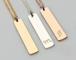 personalized bar pendant necklace bar pendant necklace etsy