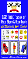 race car printables with diy checkered flag and race track play