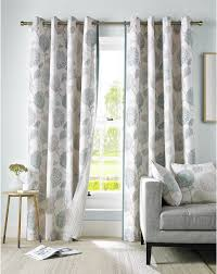 Floral Lined Curtains Floral Flowers Leaves Duck Egg Blue Lined Ring Top Curtains