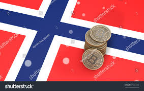 Flag Of Norway Pile Bitcoin Coins Stands On Flag Stock Illustration 715584733