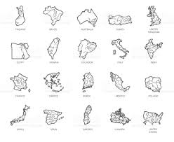 Asia Map Outline by Set Of 20 Maps In Linear Style Of Different Countries England