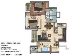 study room floor plan 2 bhk 1270 sq ft apartment for sale in paarth republic carnation