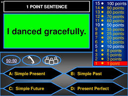 verb tenses powerpoint game who wants to be a millionaire