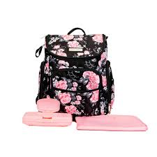 laura ashley 4 in 1 floral zip around backpack diaper bag black
