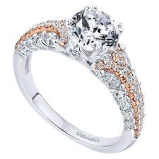 two engagement ring 18k white pink gold two tone engagement ring