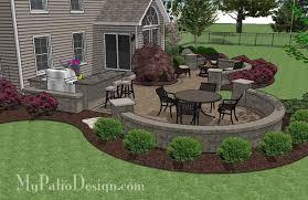 Paver Patio Large Paver Patio Design With Grill Station Seat Walls