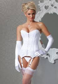 honeymoon corset white boned satin and lace corset by coquette bridal and