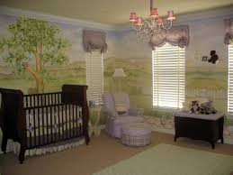 baby nursery neutral nursery features circus themed wall mural neutral nursery features dark wooden sleigh crib with skirt wall mural venetian blinds metal pink shade