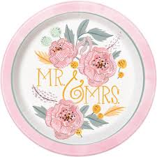 bridal shower plate to sign pink painted floral mr mrs bridal shower plates 8ct