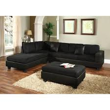 living room design black leather microfiber sectional sofa and