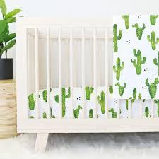 Green And White Crib Bedding Cactus Baby Bedding Caden
