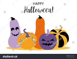 halloween funny cartoon pumpkin design greeting stock vector