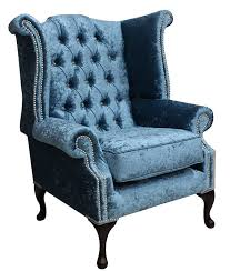 aqua velvet chesterfield crystal wing chair designersofas4u