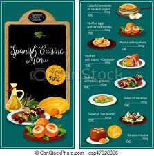 espagne cuisine cuisine espagnole vecteur menu restaurant collations