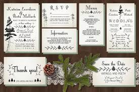 pine tree wedding invitation suite invitation templates