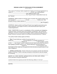 free indiana lease to own option to purchase agreement template