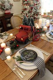 Fire Trucks Decorated For Christmas Red Truck Red Pickup Tablesetting Tablescape Pier1 Farmstyle