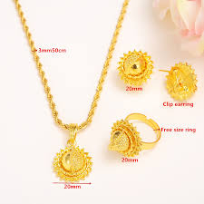 small gold necklace sets images Small size ethiopian set jewelry necklace earrings kids women gold jpg
