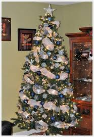 engaging tree decorated in silver and blue color