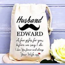 cotton gifts groom husband to be personalised wedding day cotton gift bag