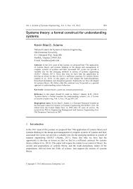 systems theory a formal construct for understanding systems pdf