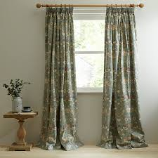 Duck Egg Blue Floral Curtains Buy Morris U0026 Co Strawberry Thief Lined Pencil Pleat Curtains
