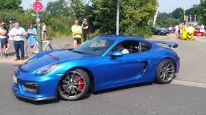 porsche cayman blue blue porsche cayman gt4 leaving cars and coffee düsseldorf youtube