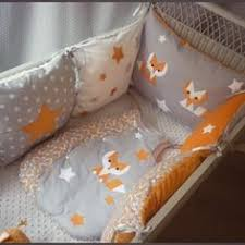 chambre bebe orange tour de lit gigoteuse renard orange gris et blanc móda fashion