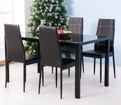 Glass Top Dining Table And Chairs Amazon Com Merax 5pc Glass Top Dining Set 4 Person Dining Table
