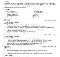 Pc Technician Resume Computer Technician Resume Computer Technician Resume Samples