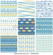 wavy sea ornaments set seamless doodle stock vector 646638283