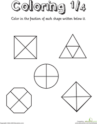 coloring shapes the fraction 1 4 fractions fractions