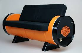 vintage style sofa made out of two reclaimed oil drums homecrux