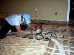 installation of wood floor medallions and inlays