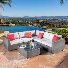 Wicker Sectional Patio Furniture by Resin Wicker Conversation Sets You U0027ll Love Wayfair