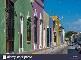 spanish colonial houses on calle 14 in campeche yucatan peninsula